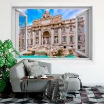 Vinilos adhesivos ventanas roma fontana di trevi 3d