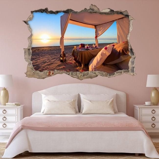 Vinilos atardecer romántico en la playa 3d