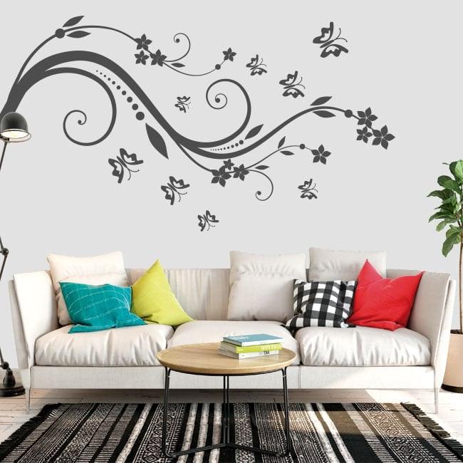 Vinilos y pegatinas flores y mariposas para decorar - Pegatinas para decorar ...