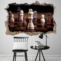 Vinilos 3d rey ajedrez agujero pared