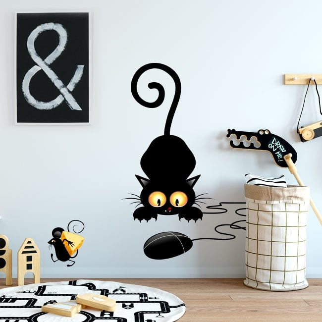 Vinilos decorativos y pegatinas gato y ratón