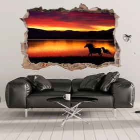 Vinilos 3d caballo y naturaleza agujero pared