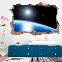 Vinilos 3d planeta tierra agujero pared