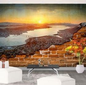 Fotomurales atardecer en noruega pared rota