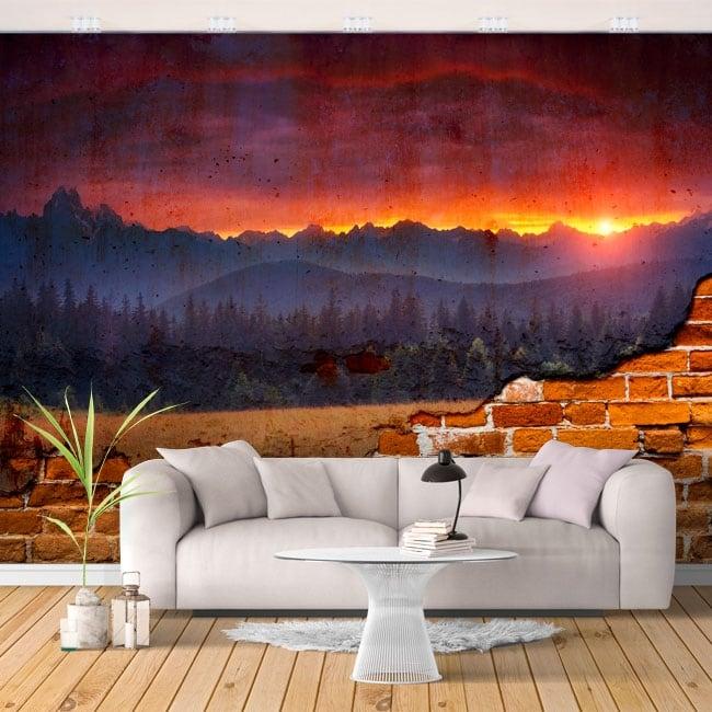 Fotomurales pared rota atardecer en la naturaleza