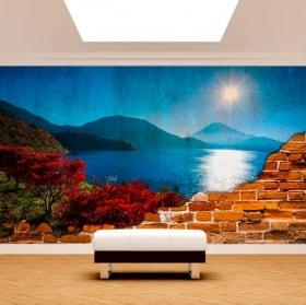 Murales de vinilo atardecer monte fuji pared rota