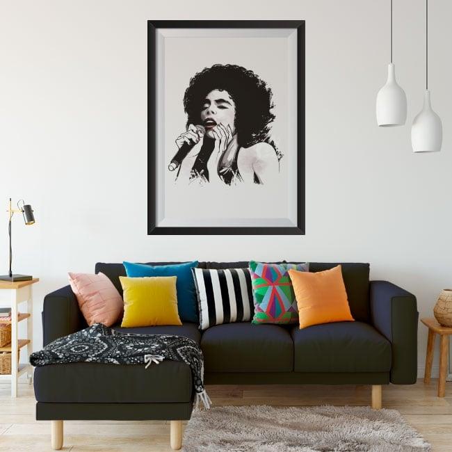 Vinilos mujer cantante jazz cuadro enmarcado efecto 3d