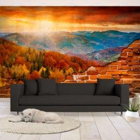 Murales atardecer montañas pared rota