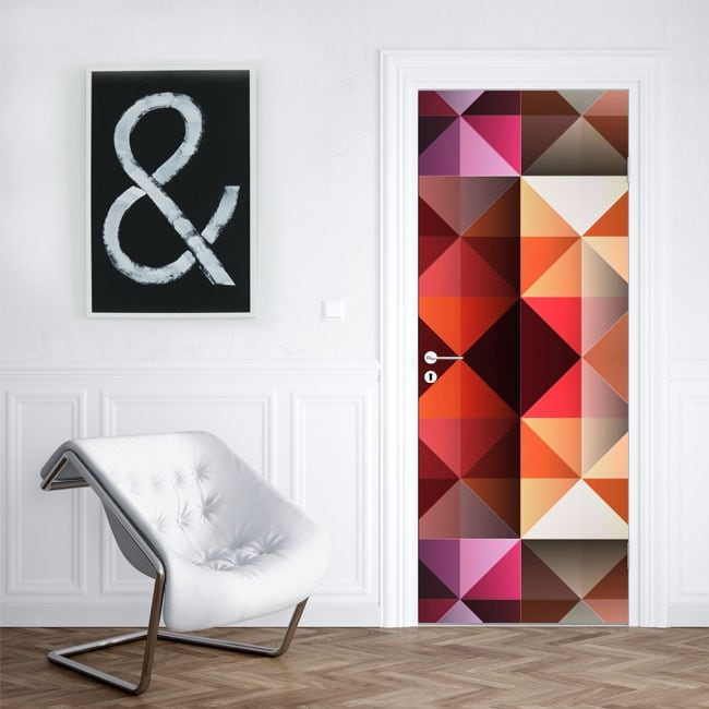 Vinilos para puertas y armarios tri ngulos colores for Vinilos para puertas de armarios