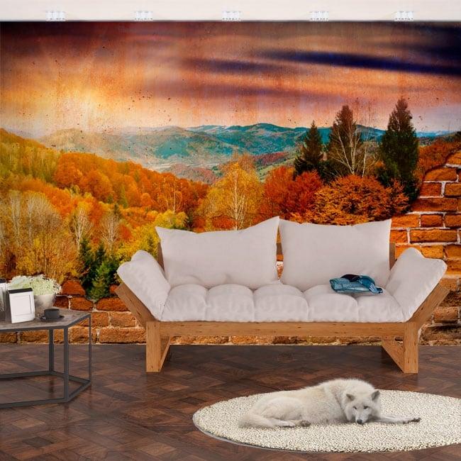 Murales de vinilo atardecer montañas efecto pared rota