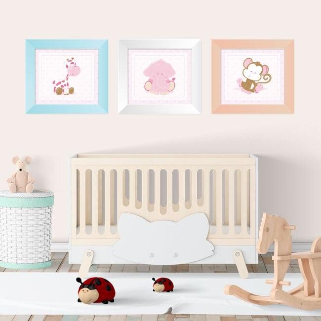Vinilos animales infantiles cuadros enmarcados efecto 3d