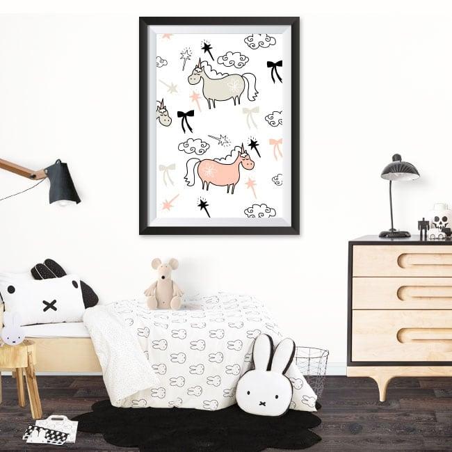 Vinilos unicornios cuadro enmarcado efecto 3d