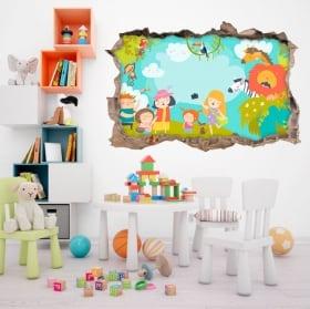 Vinilos y pegatinas infantiles familia en el zoo 3d