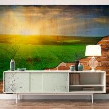Murales atardecer en el campo efecto pared rota