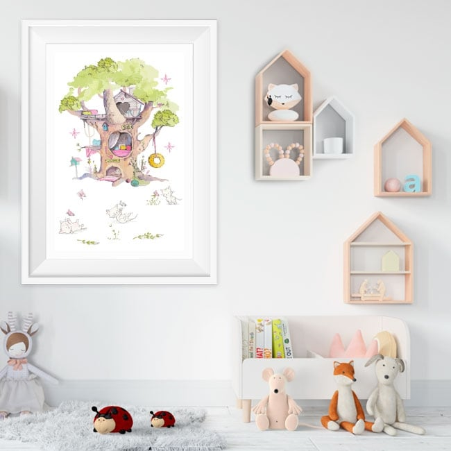 Vinilos el árbol de los gatos efecto cuadro 3d