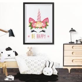 Vinilos adhesivos unicornio be happy cuadro efecto 3d