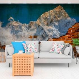 Murales efecto pared rota atardecer montañas