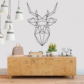 Vinilos decorativos origami cabeza de ciervo geométrico