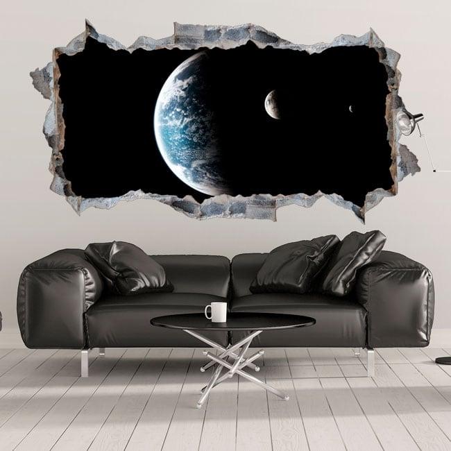 Vinilos 3d planeta tierra y luna agujero de pared