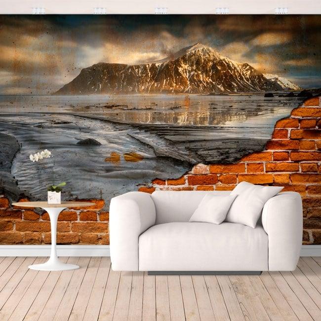 Murales de vinilo islas lofoten noruega efecto pared rota