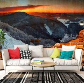 Murales vinilos amanecer en las montañas efecto pared rota