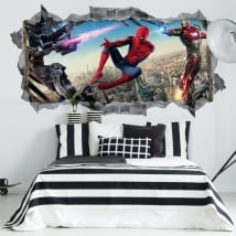 Vinilos decorativos iron man 3 agujero pared 3d