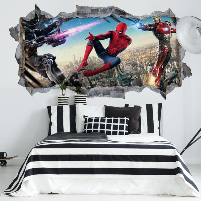 Vinilos paredes iron man y spiderman 3d