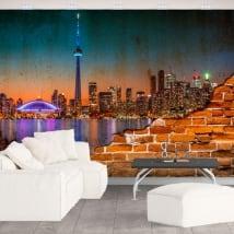 Murales de canadá ciudad de noche efecto pared rota