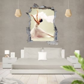 Vinilos silueta mujer ballet agujero pared 3d