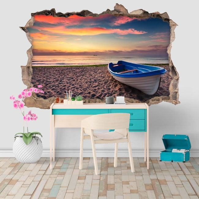 Vinilos y pegatinas atardecer en la playa agujero pared 3d