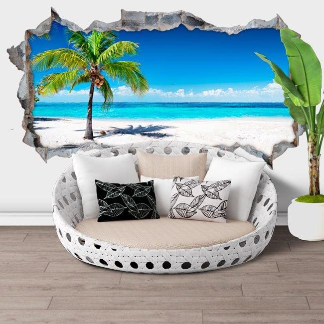 Vinilos decorativos 3d palmera panorámica playa