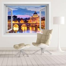 Vinilos ventanas río tíber y vaticano italia 3d