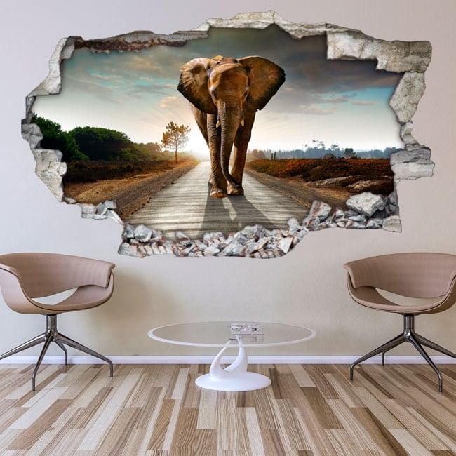 Vinilos decorativos para paredes elefante 3d for Vinilos decorativos pared 3d