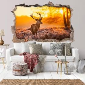 Vinilos agujero pared ciervo y puesta de sol 3d