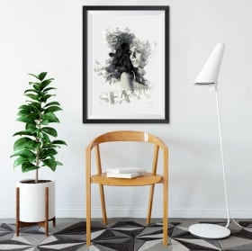 Vinilos decorativos silueta mujer cuadro efecto 3d