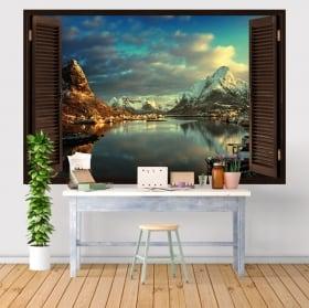 Vinilos y pegatinas ventana pueblo reine noruega 3d