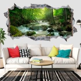 Vinilos paredes cascada y naturaleza 3d