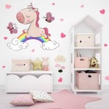 Vinilos infantiles unicornio nubes y arcoíris