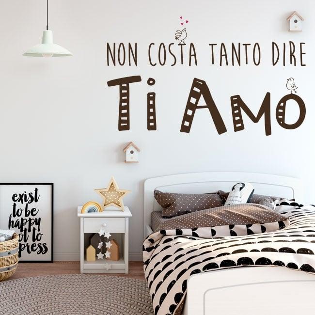 Vinilos y pegatinas frases te quiero en italiano