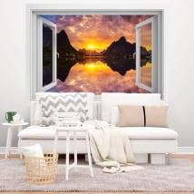 Vinilos ventanas atardecer en fiordo noruega 3d