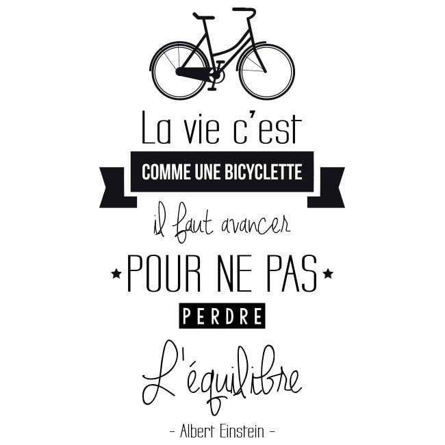 Vinilo Frase En Francés La Vida Es Como Montar En Bicicleta