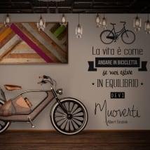 Vinilos frases en italiano la vida es como montar en bicicleta