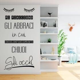 Vinilos paredes frases en italiano me gustan los abrazos