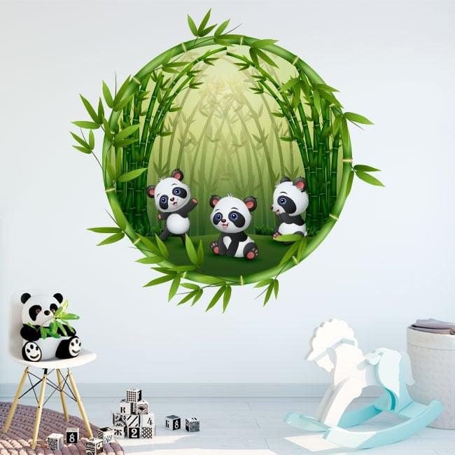 Vinilos habitaciones infantiles osos panda