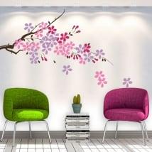 Vinilos decorativos rama de árbol con flores y hojas