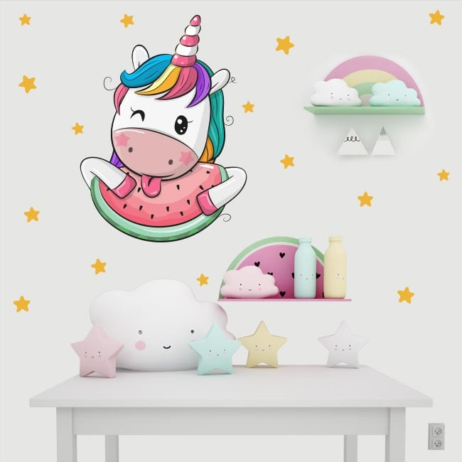 Vinilos infantiles unicornio y estrellas