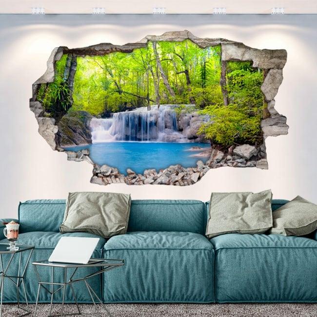 Vinilos agujero pared 3d cascadas en el bosque