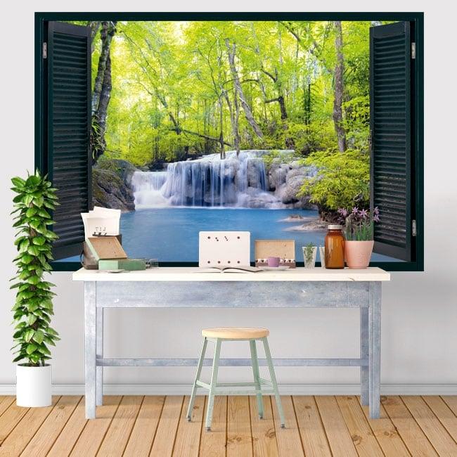 Vinilos ventanas cascada en el bosque 3d