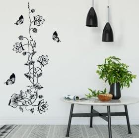 Vinilos y pegatinas flores con mariposas