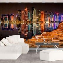 Murales de vinilo ciudad de doha catar efecto pared rota